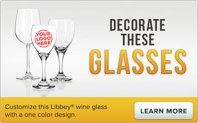 Customize this Libbey wine glass with a one color logo