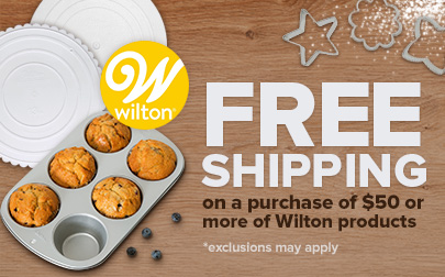 Free Shipping on a purchase of $50 or more of Wilton products