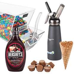 Cones, Toppings, Syrups, and Dispensers