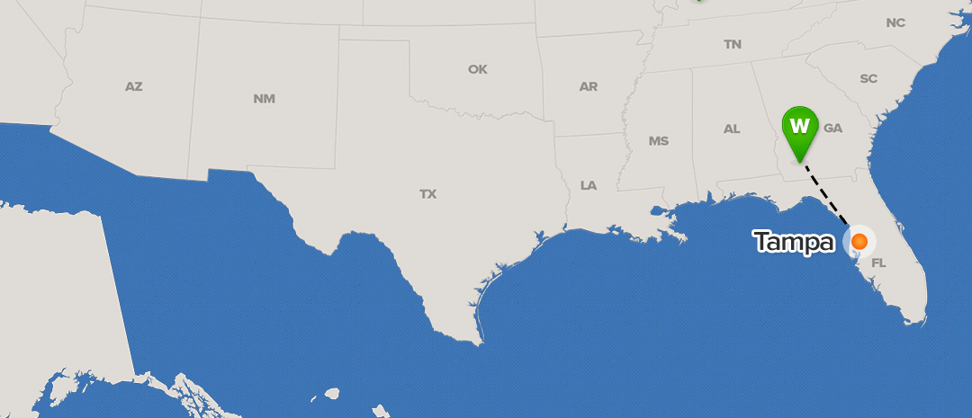 Shipping Map For Tampa