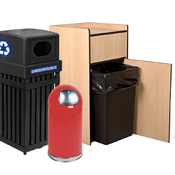 trash and recycling containers and supplies