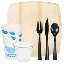 Green Products. Dinnerware, Cups, And Utensils