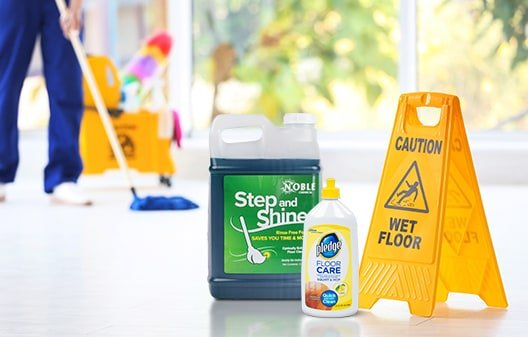image of mop and cleaning products