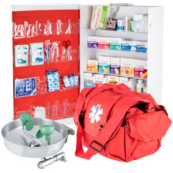 First Aid Supplies and eye wash station